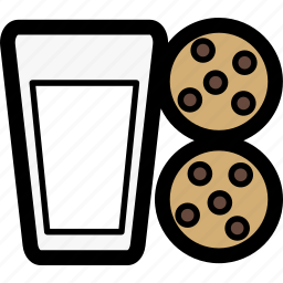 christmas, cookie, glass, holiday, milk, milk and cookies, santa icon