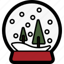 christmas, globe, holiday, snow, tree, winter icon