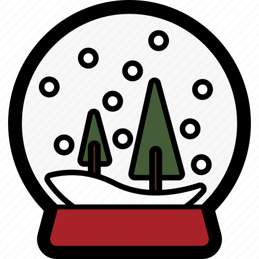 christmas, globe, holiday, snow, tree, winter icon