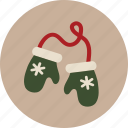 christmas, mittens, winter icon