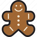 christmas, cookie, food, gingerbread, holiday, man icon