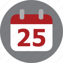 calendar, christmas, day, december icon