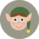 christmas, elf, head, holiday, santa icon