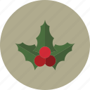 christmas, holiday, holly, mistletoe, winter icon