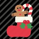 christmas, decoration, gift, present, santa stocking, socks, sweets icon