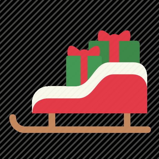 christmas, santa, sled, winter, xmas icon