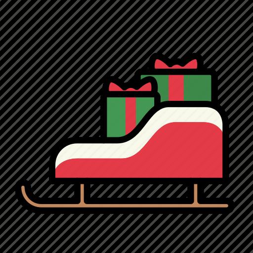 christmas, sled, sleigh icon