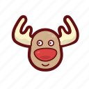christmas, color, reindeer, rudolph, santa, xmas icon