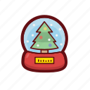 christmas, color, snow, snow globe, tree, xmas icon