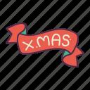 celebrate, christmas, decoration, flag, holidays, ribbon, xmas icon