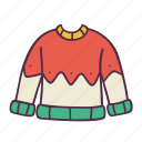 christmas, clothes, holidays, knitting, newyear, sweater, winter icon