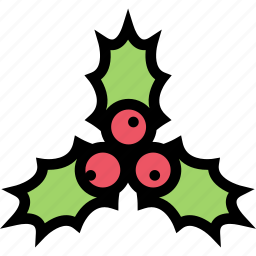 christmas, holidays, holly, new year, winter icon