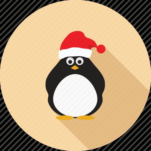 cap, christmas, hat, penguin, penguin santa, santa, santa cap icon