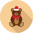 bear, cap and ribbon, santa bear, santa cap, teddy bear icon