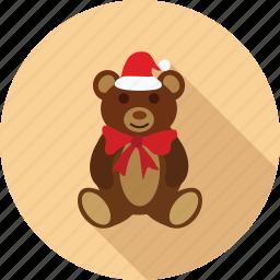 bear, cap and ribbon, santa bear, santa cap, teddy bear icon