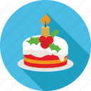 cake, candle, celebration, christmas, decoration, ice cream cake, winter icon