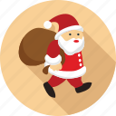 bag in hand of santa claus, santa, santa claus, walking santa, walking santa claus icon