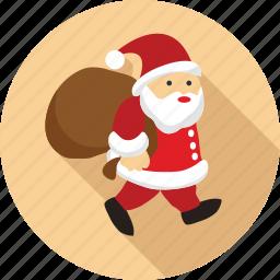 bag in hand of santa claus, santa, santa claus, walking santa, walking santa claus icon