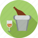 bottle, drink, glass, glass and bucket, wine, wine bottle, wine bucket icon