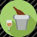 bottle, drink, glass, glass and bucket, wine, wine bottle, wine bucket icon