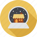 christmas, christmas at night, home, house, night, snowfall, stars icon
