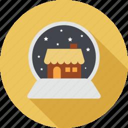 christmas, christmas at night, home, house, night, snowfall, stars icon