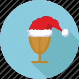 cap, drink, glass, hat, santa claus, santa claus cap icon
