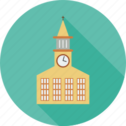 building, church, clock on building, religious buliding icon