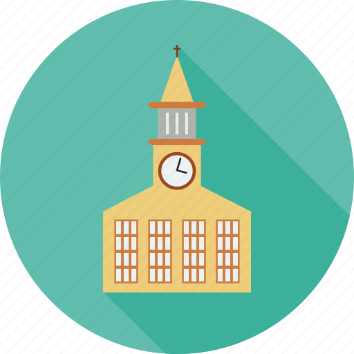 building, church, clock on building, religious buliding icon