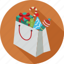 christmas elements, christmas shopping, gift box, shopping bag, shopping bag full of christmas icon