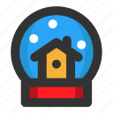 christmas, decoration, globe, house, snow globe, snowflake, winter icon