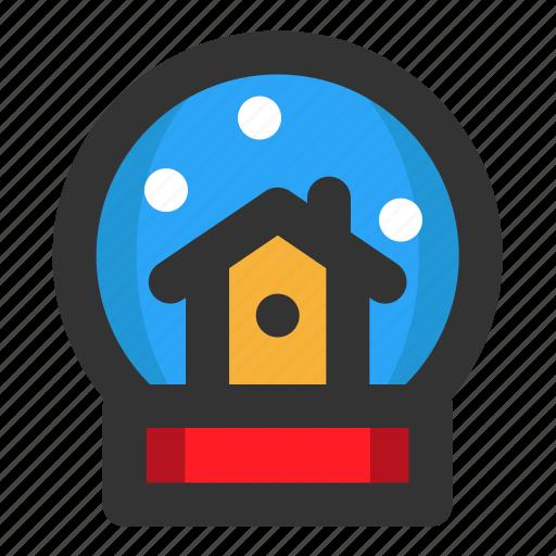 christmas, globe, house, snow, winter, xmas icon