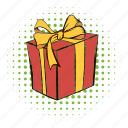 box, comics, funnies, gift, gift box, present, ribbon icon