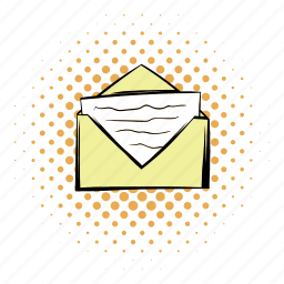 comics, email, envelope, funnies, letter, open, paper icon