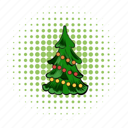 comics, fir, fir-tree, pine, spruce, tree, xmas icon