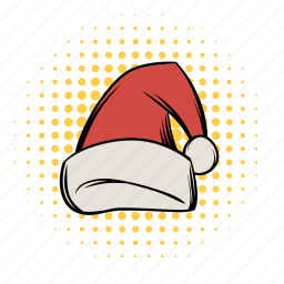 cartoon, comics, funnies, hat, header, red, santa icon