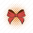 bow, comics, funnies, holiday, present, ribbon, tied icon