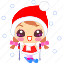 cartoon, christmas, joy, ski, skiing, snow, xmas icon