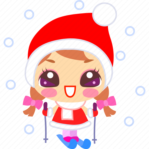 cartoon, christmas, joy, ski, skiing, snow, xmas icon