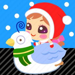 christmas, dove, snow, xmas icon