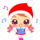 carol, cartoon, christmas, emoticon, singing, xmas icon