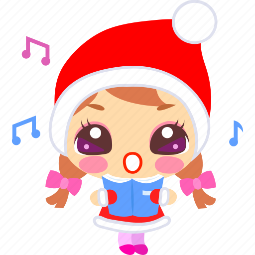 carol, cartoon, christmas, emoticon, singing, xmas icon