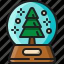 snow, globe, glass, sphere, christmas, tree, decoration