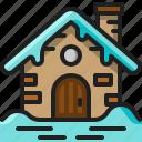 snow, hut, cottage, home, winter, building, cabin