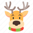 animal, deer, face, xmas icon