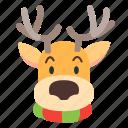 animal, deer, face, xmas