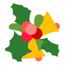 bells, decoration, mistletoe, xmas icon