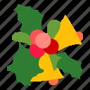 mistletoe, xmas, bells, decoration