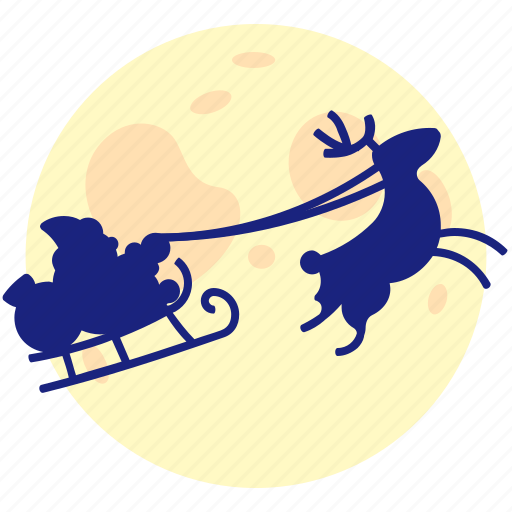 flies, moon, night, santa, xmas icon