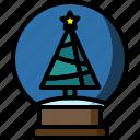 ball, christmas, globe, snow, tree, winter, xmas